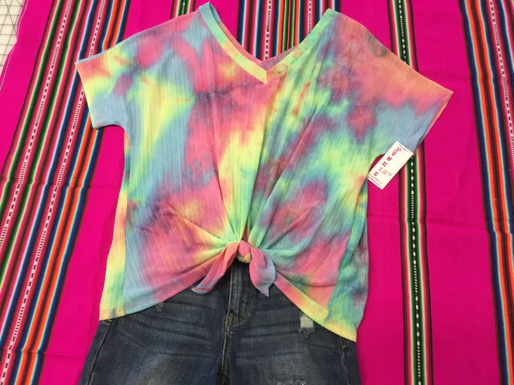 Image of Peek a boo tye dye top
