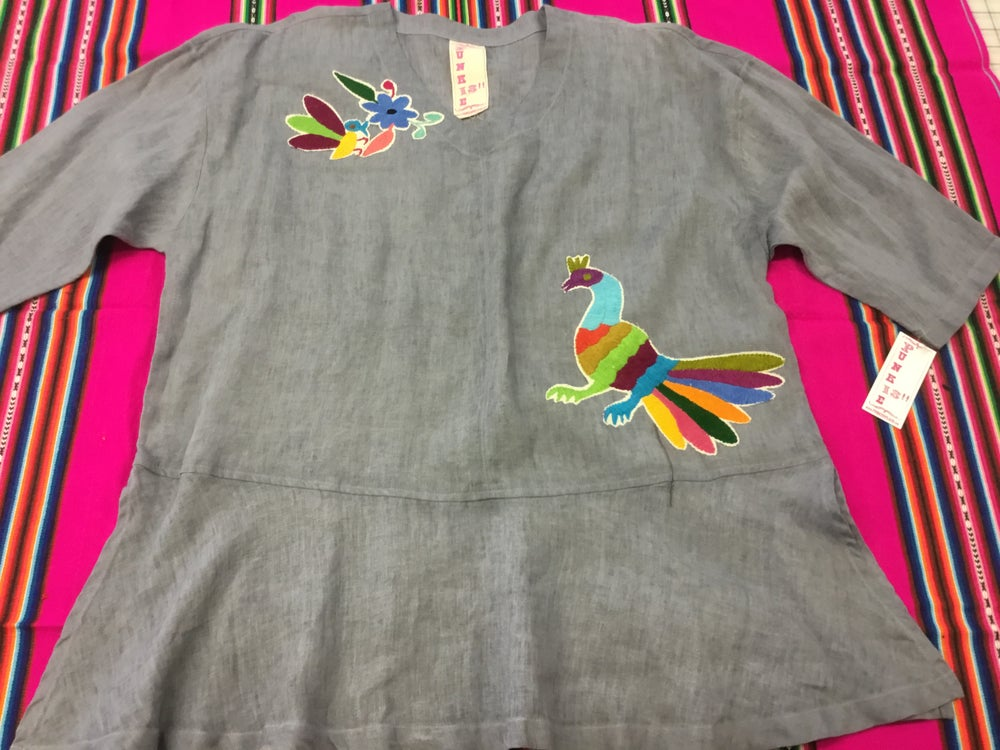 Image of Linen top with otomi embroidery💖