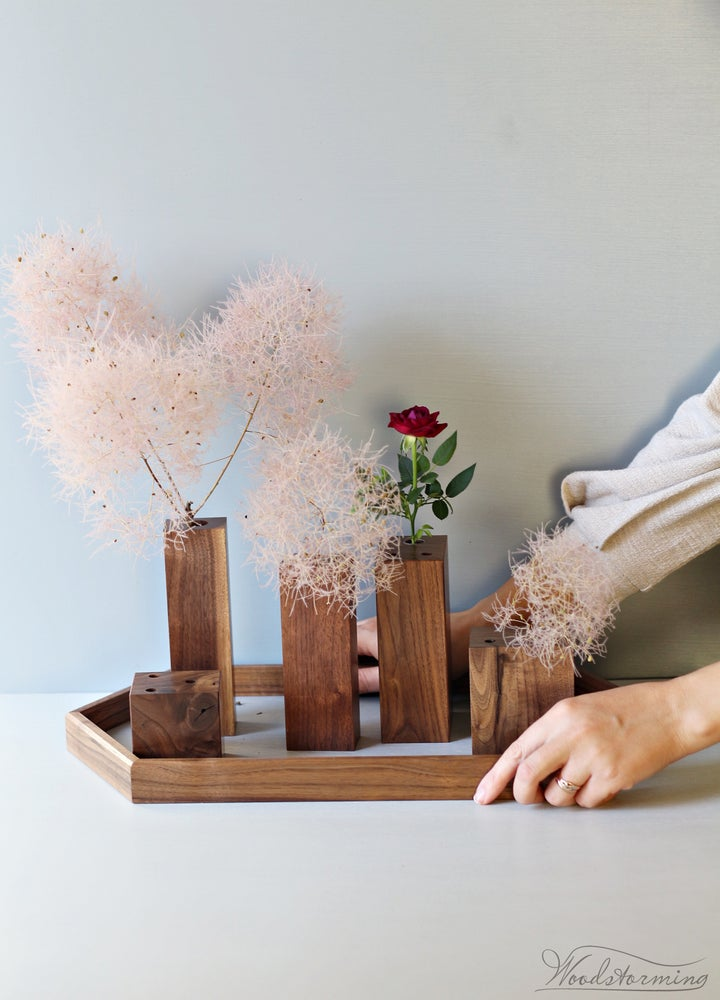Image of Christmas table decoration - hygge home decor - set of 5 modern vases on tray