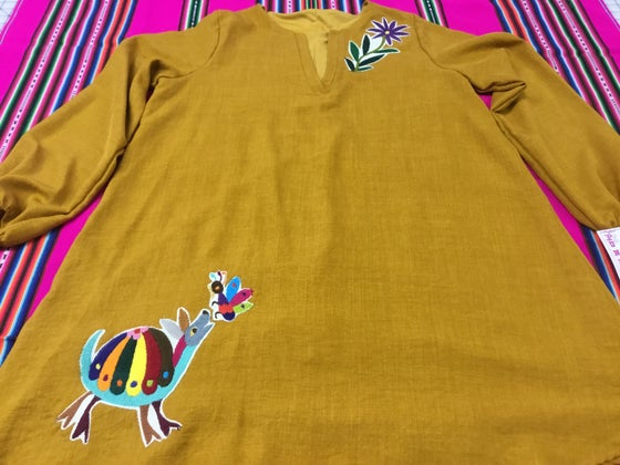 Image of Mustard dress with otomi embroidery💖
