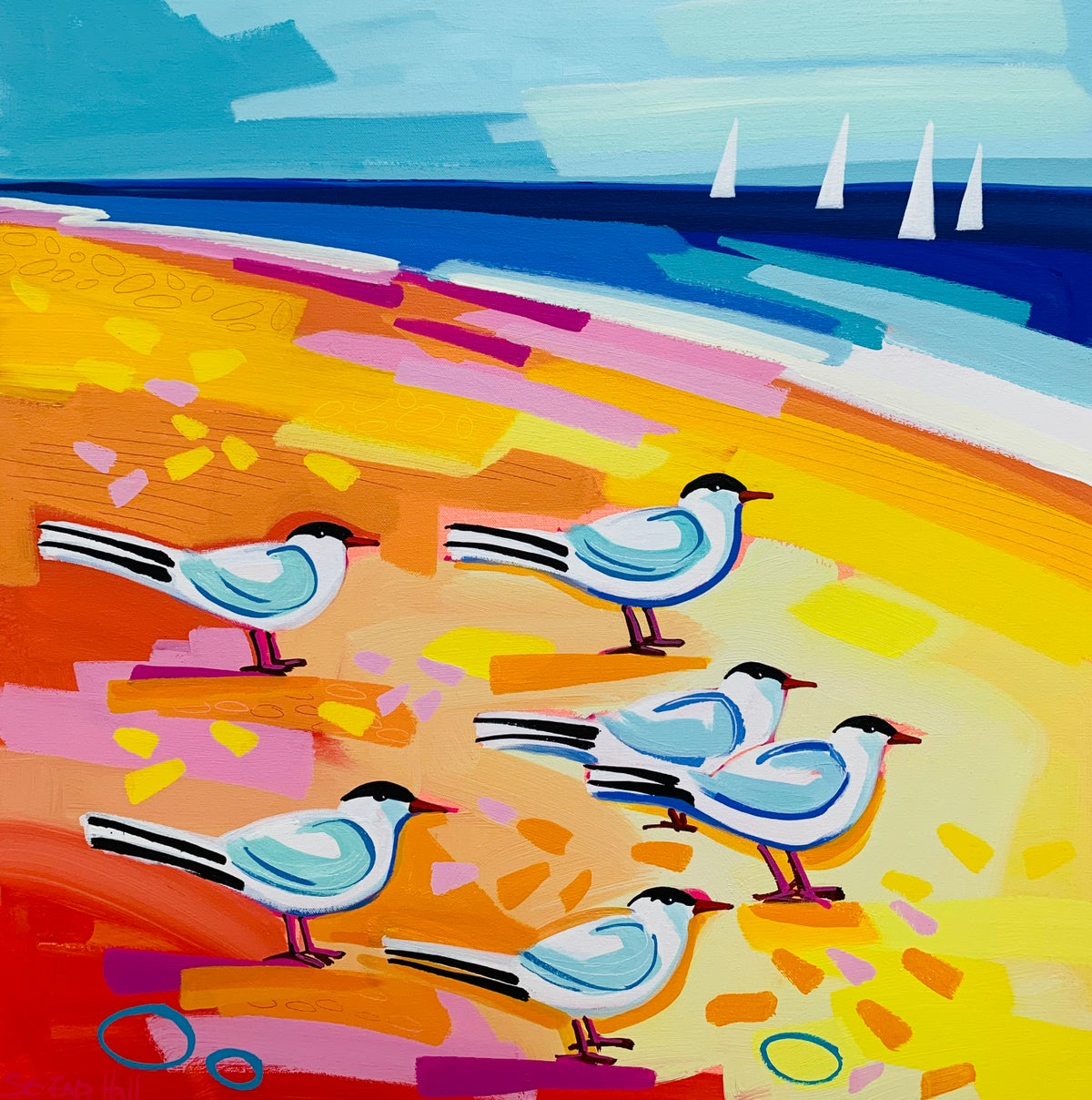 Six Terns resting