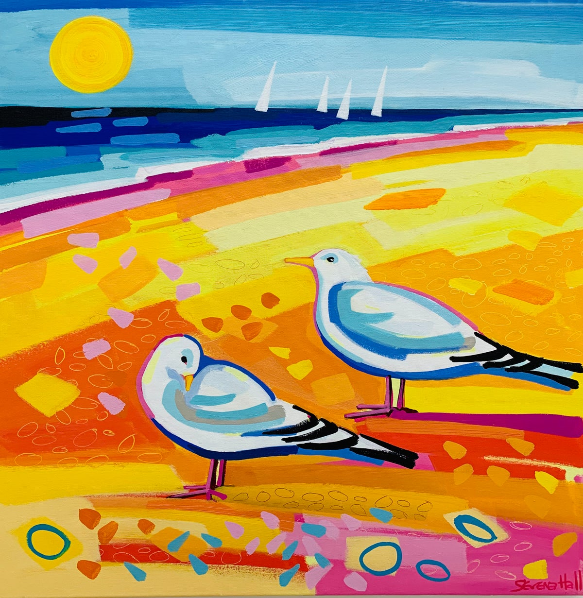 Two Sunbathing Gulls