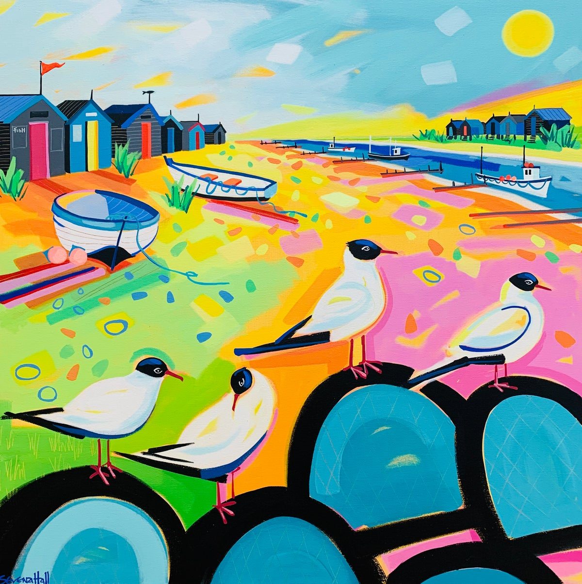 Southwold Harbour Gulls and Lobster pots.