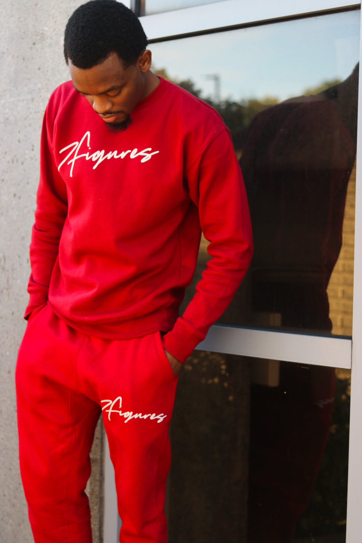 "Image of 7 Figures ""Script"" Unisex Joggers Red"