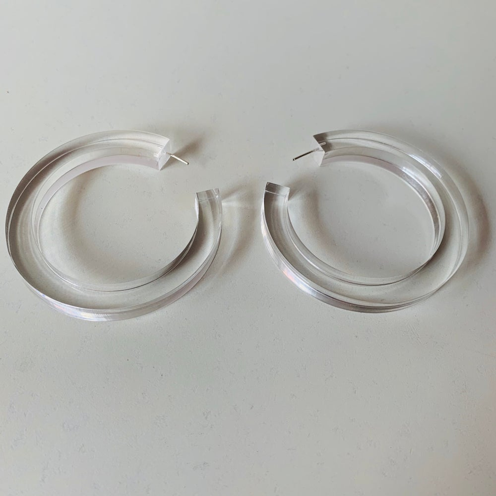 Image of Block Lucite Hoops
