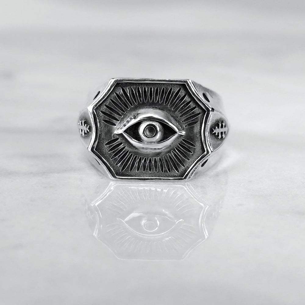 Image of All-Seeing Eye Signet Ring LG Hollow-Back