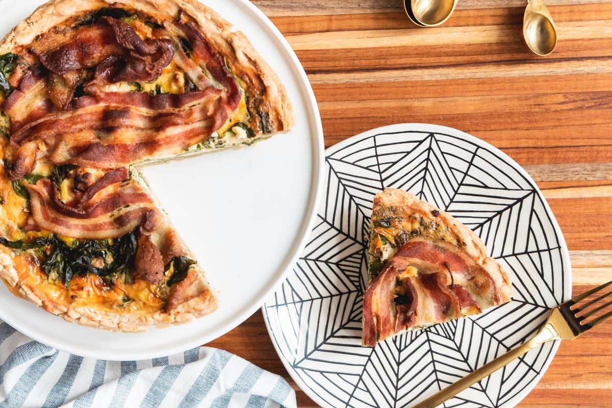 Image of Spinach, Feta + Bacon Quiche
