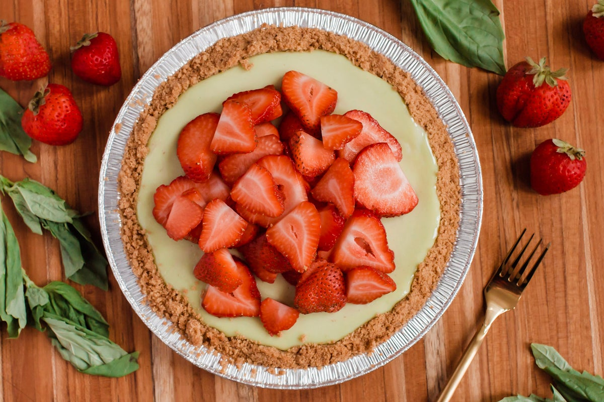 Image of Strawberry Basil Key Lime Pie