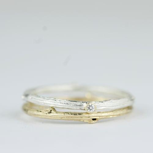 Image of Handmade gold oak twig ring. The 'Mimi oak twig' ring