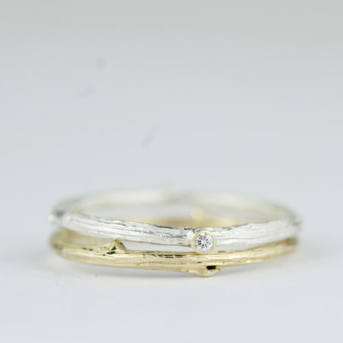 Image of Handmade silver and diamond twig ring. The 'Mimi oak twig diamond ring'