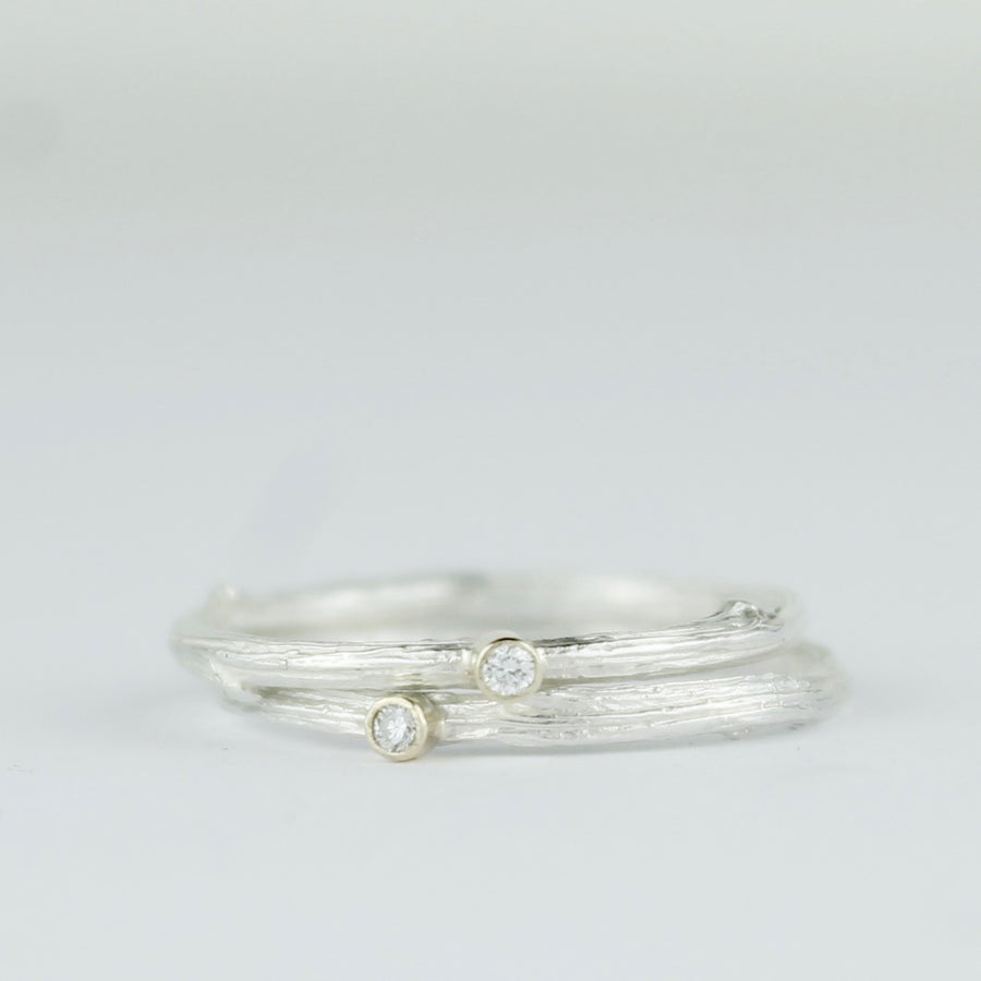 Image of Handmade silver and diamond twig ring. The 'Mimi' oak twig diamond ring by Charlotte Bezzant