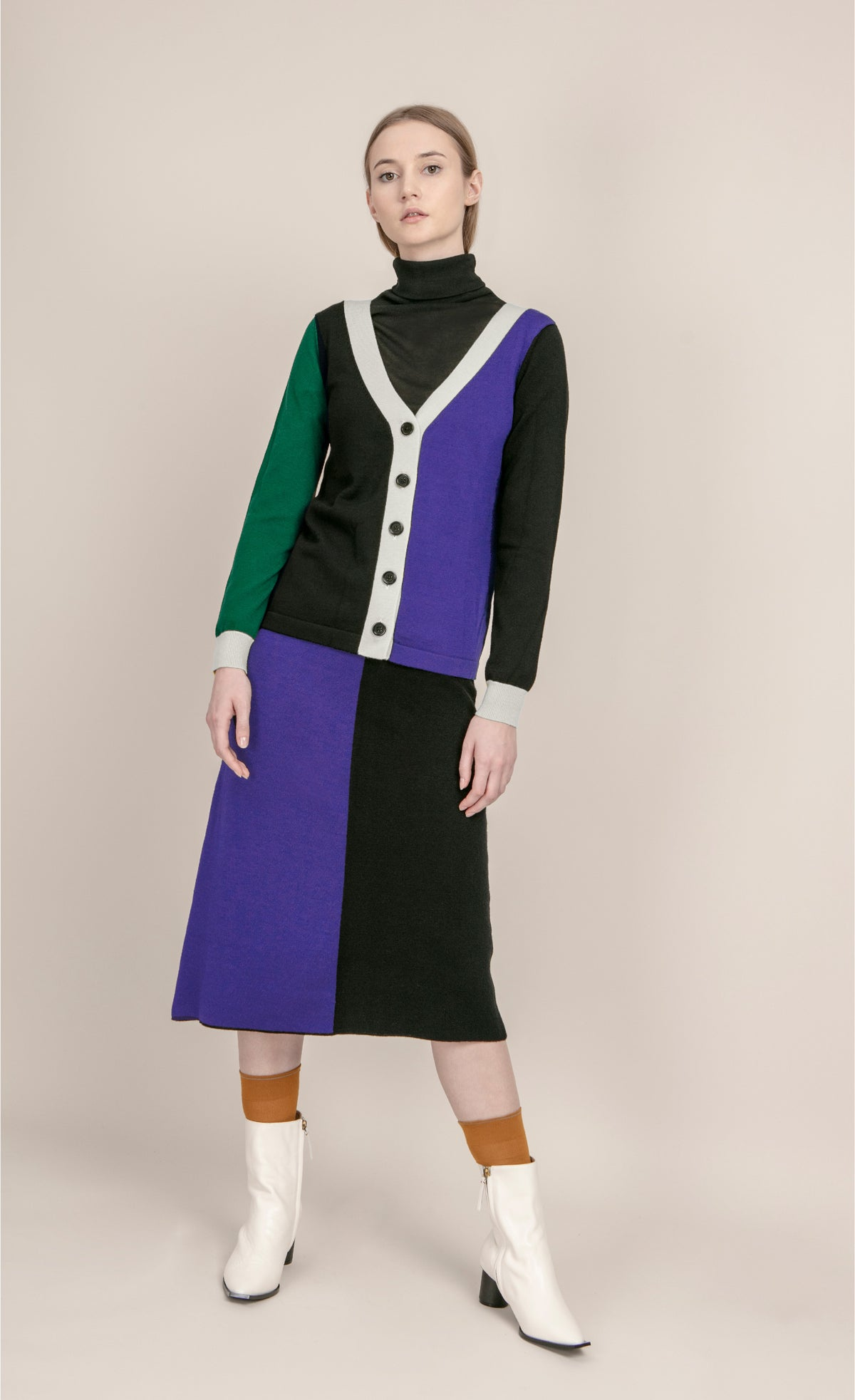 Image of Colourblock knit skirt _ Black and Purple