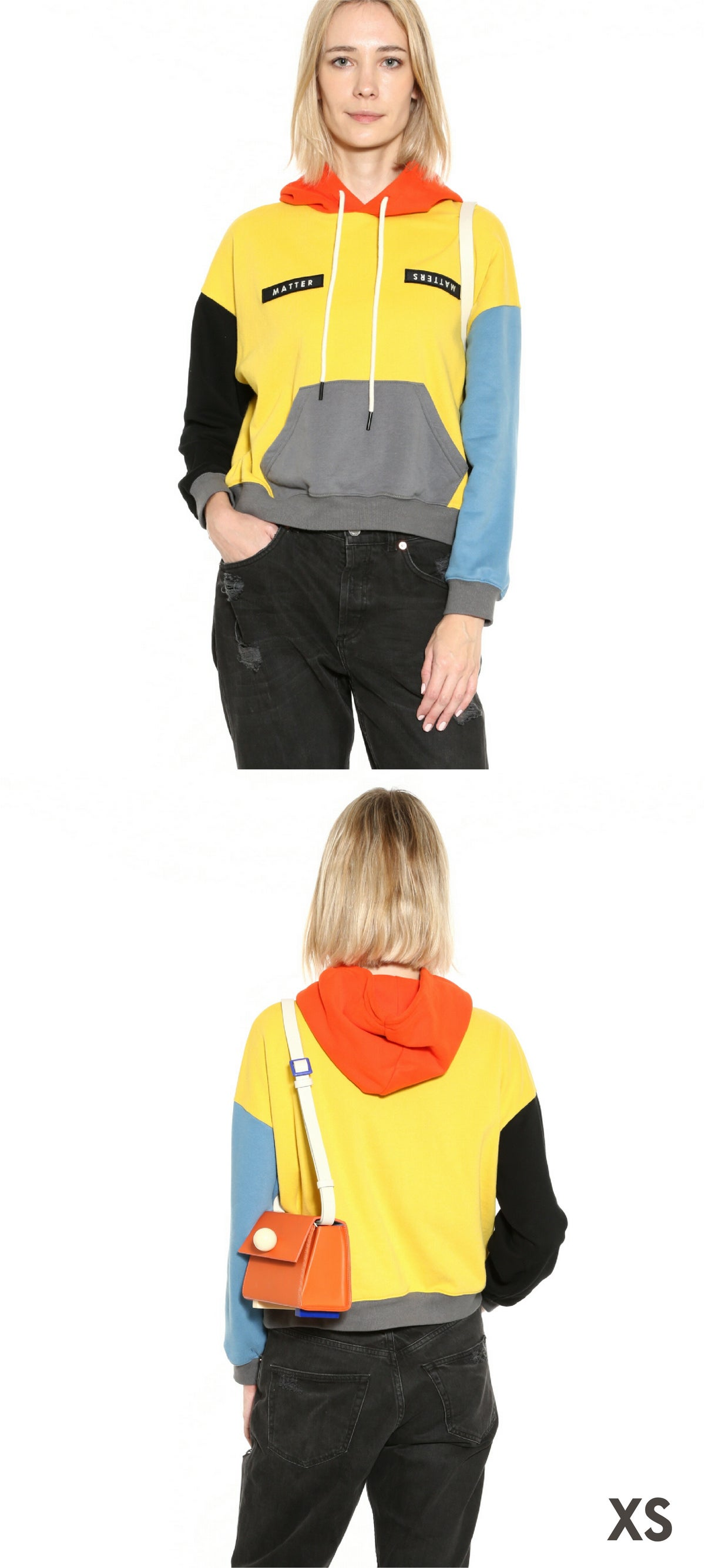 Image of Colourblock hoodie in Yellow Multi