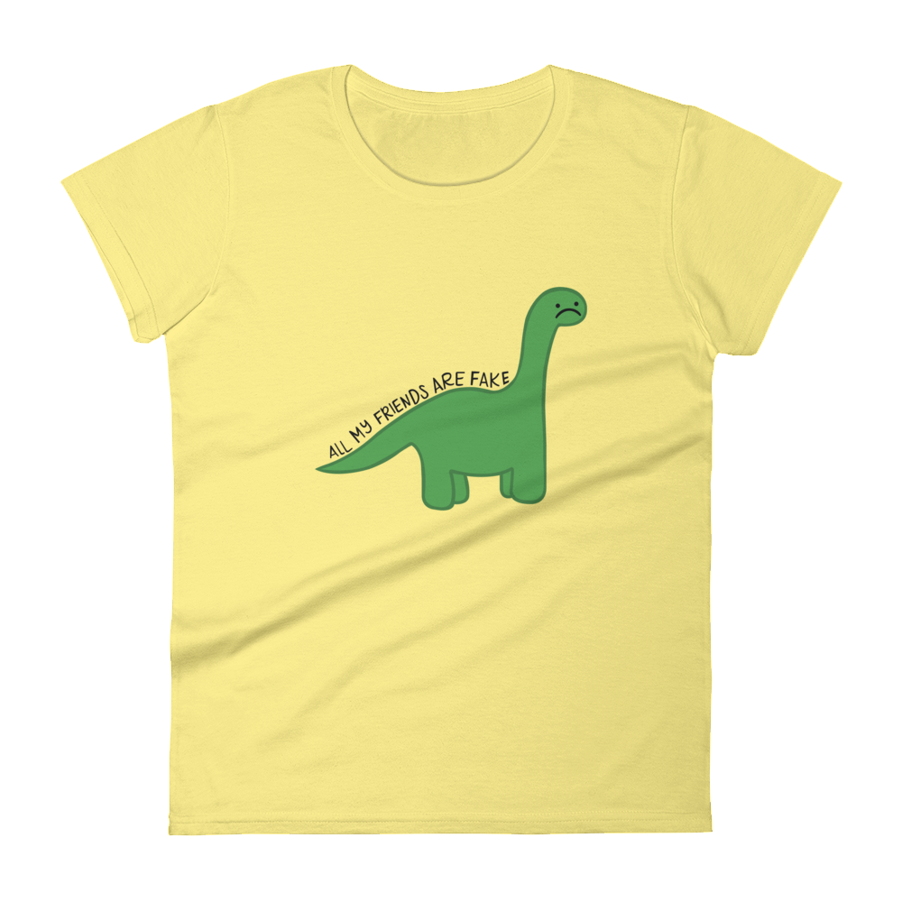 """Image of Sad Dino """"All My Friends Are Fake"""" Women's Shirt"""