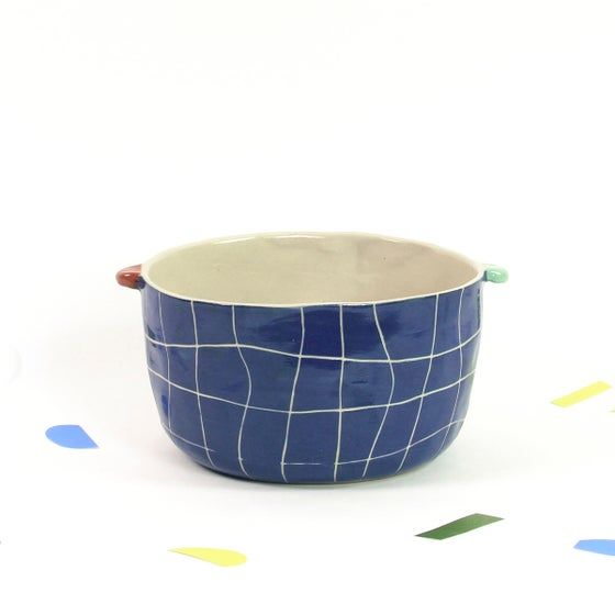 Image of Bol quadrillé bleu foncé