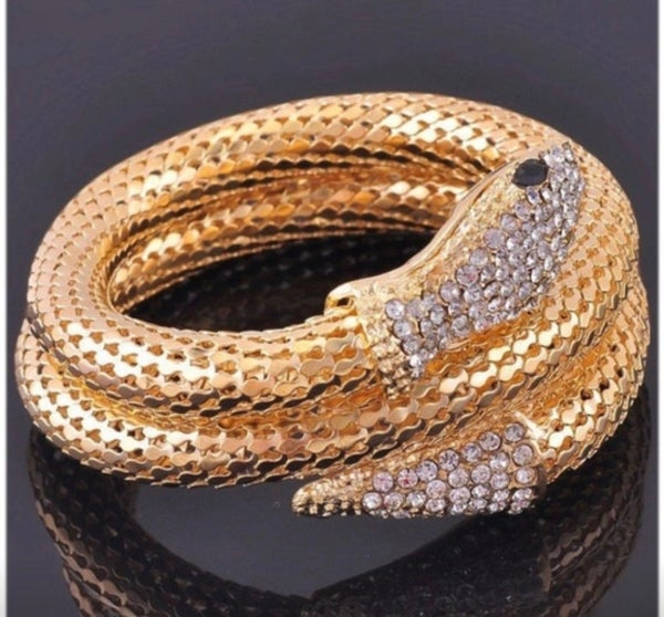 Image of gold plated snake flexible bracelet