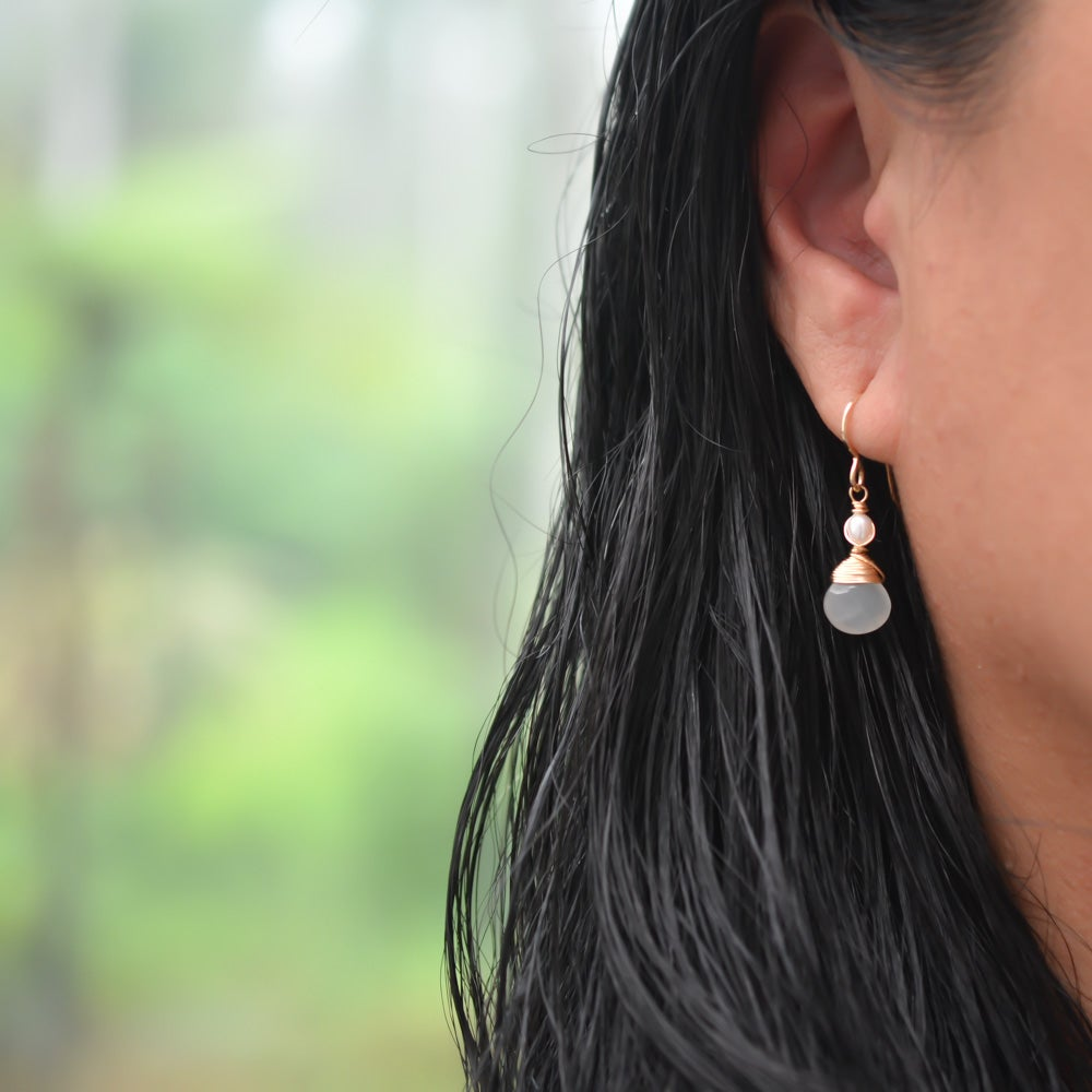 Image of Kea White Moonstone Earrings