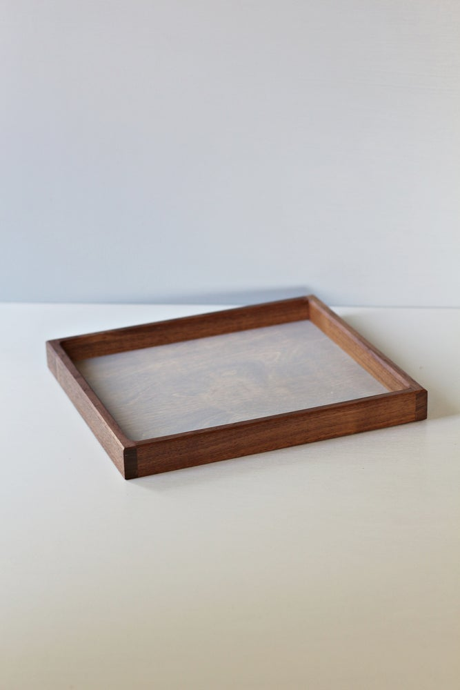 Image of Square tray for decor - walnut and birch plywood
