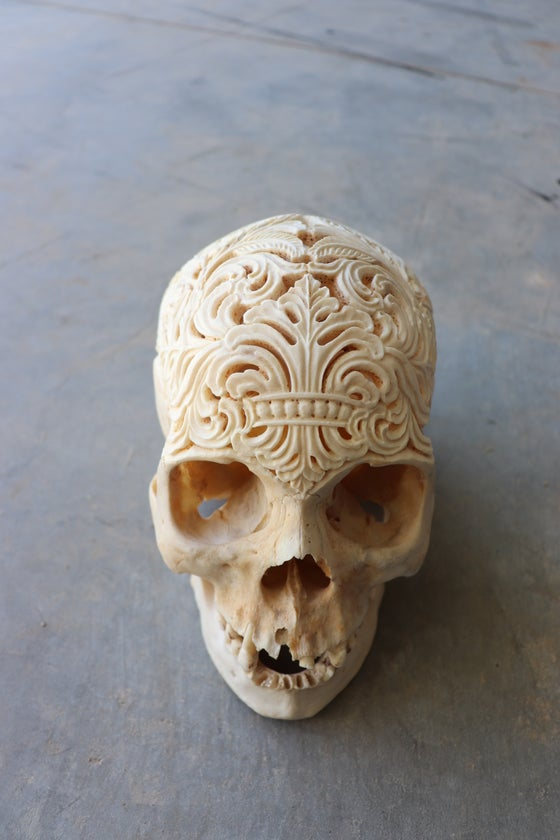 Image of Carved human skull 'nature's reclamation'