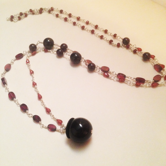 Image of Fundraiser The Moon Sterling Silver Natural Red Garnet Gemstone Blood Moon Cycle Amulet Necklace