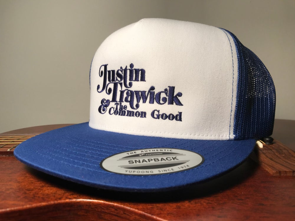 Image of Justin Trawick and The Common Good Embroidered Trucker Cap (Blue)