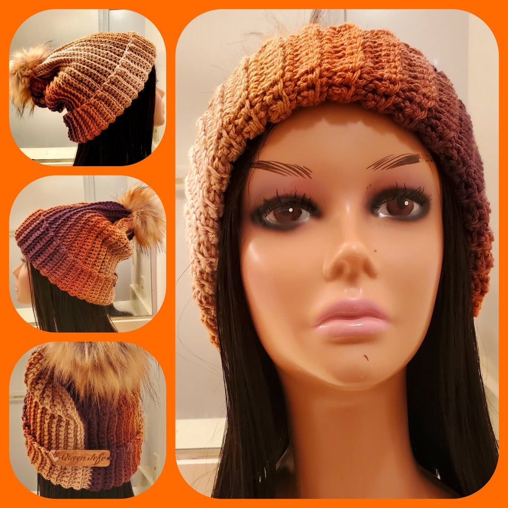 Image of Relaxed Ribbed Hat with Faux Fur Pom
