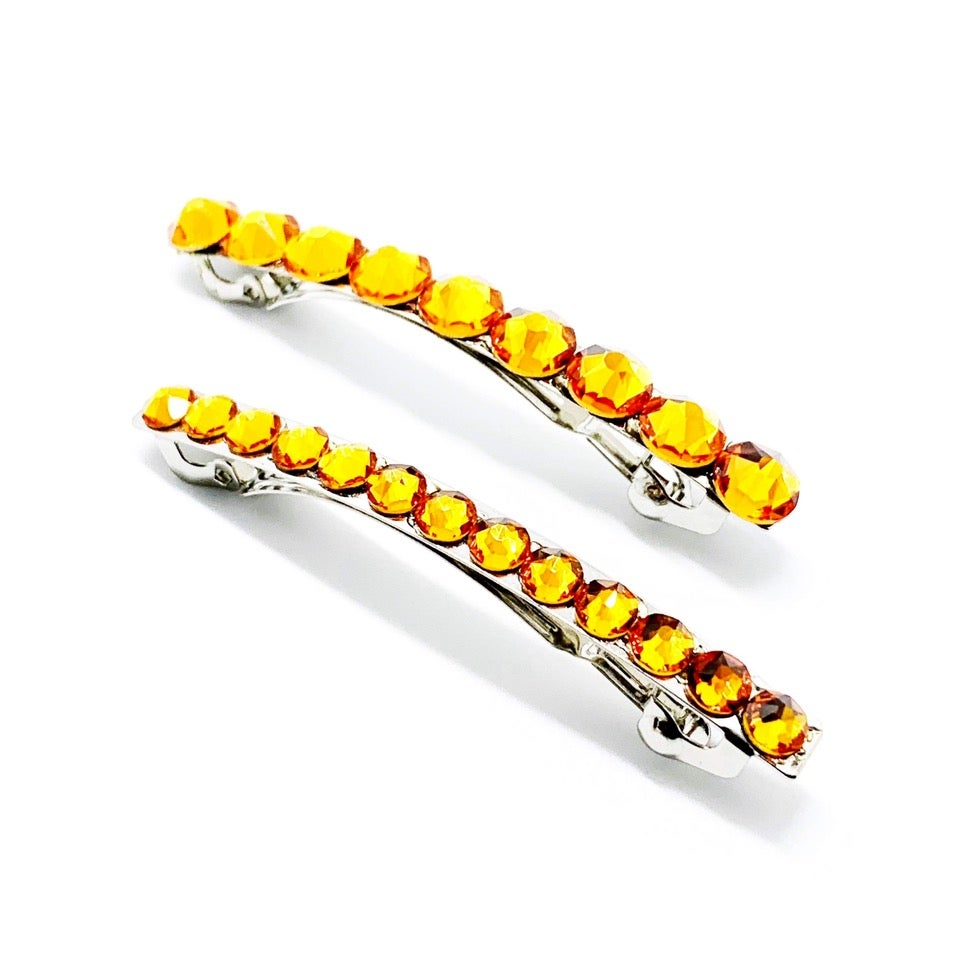 "Image of ""Topaz Orange"" Crystal Bling Ponytail Hair Clips- ""Mommy & Me"" matching set"