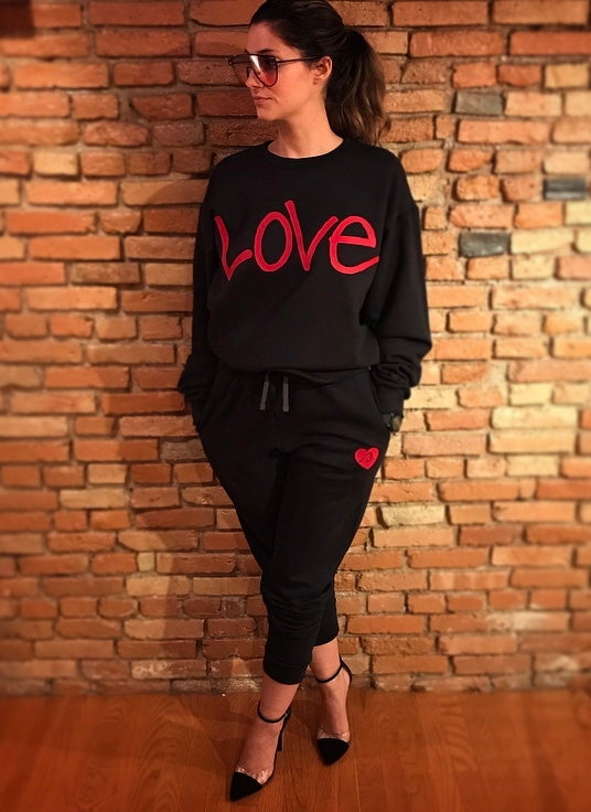"Image of Black x Red ""Love...period!"" Sweatsuit (unisex)"
