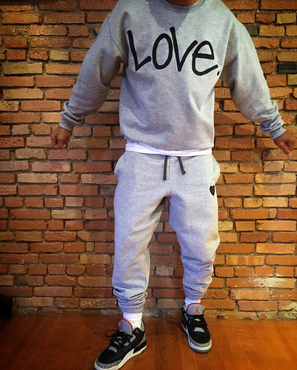 "Image of Gray x Black ""Love...period!"" Sweatsuit"