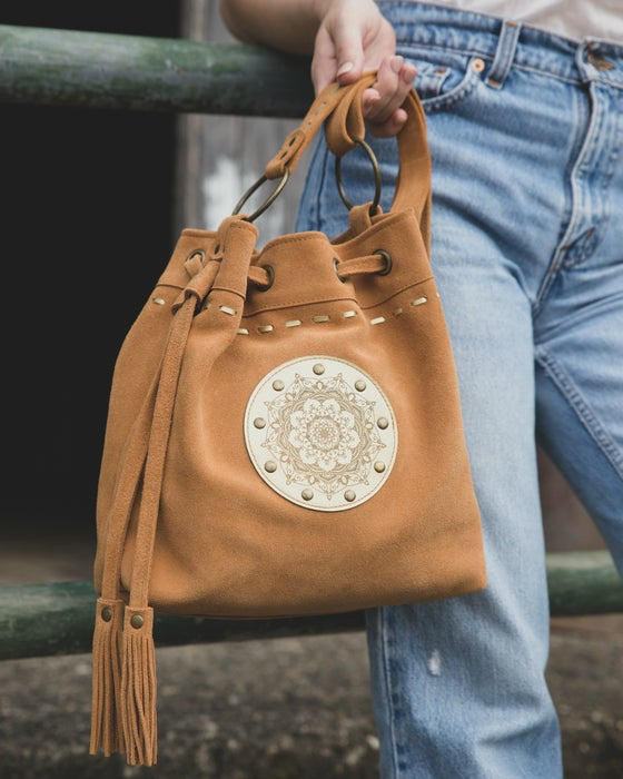 Image of Suede Drawstring Bag - Manadala