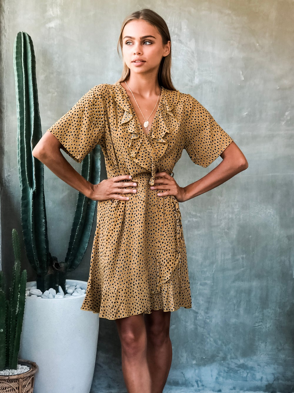 Image of WILLOW WRAP DRESS - RANGER GOLD
