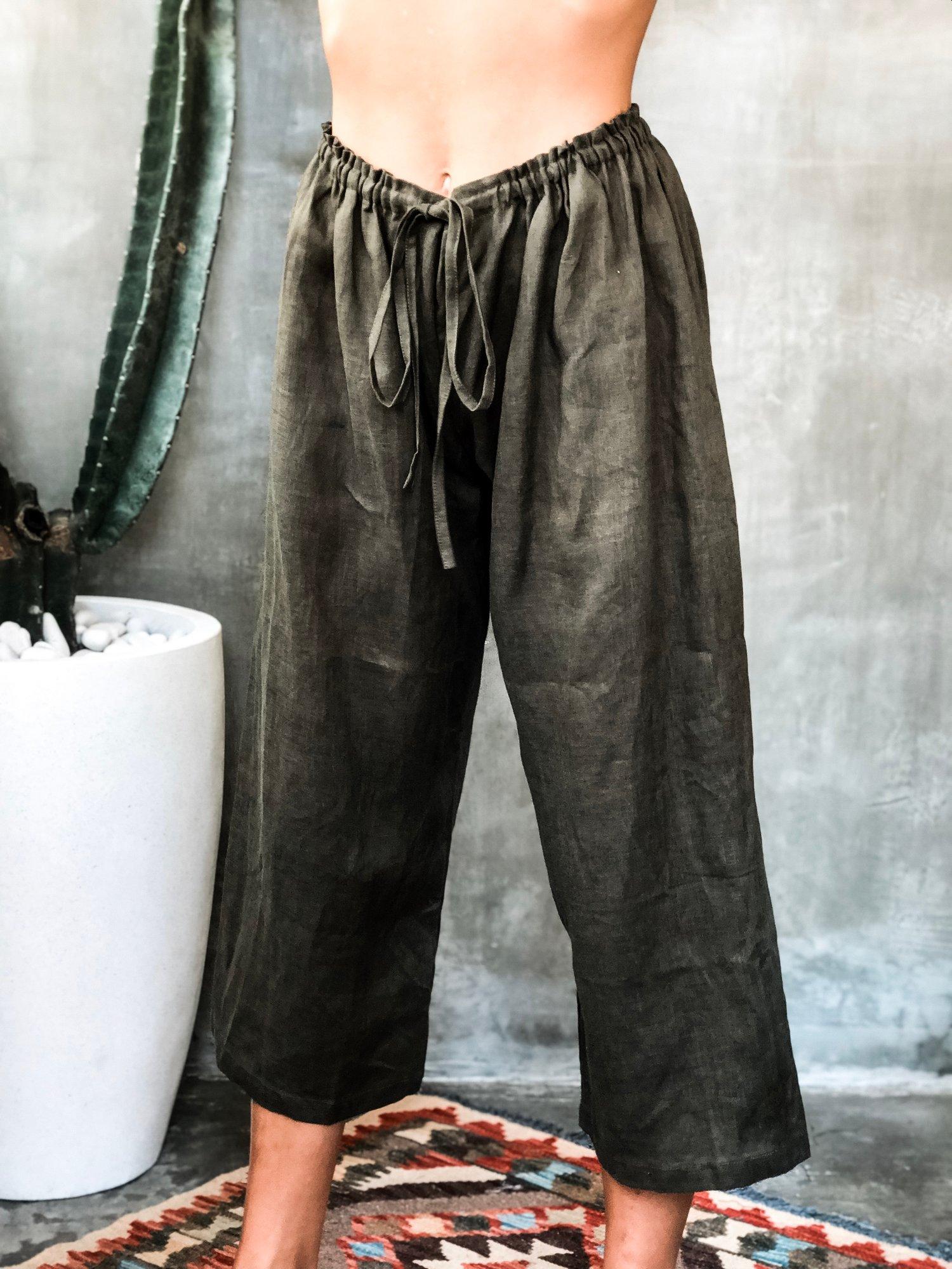 Image of AZUL LINEN PANTS - OLIVE