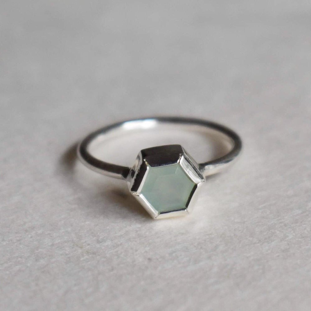 Image of Aqua Chalcedony Ogtagon cut silver ring