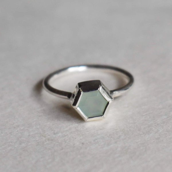 Image of Aqua Chalcedony Ogtagon cut silver ring