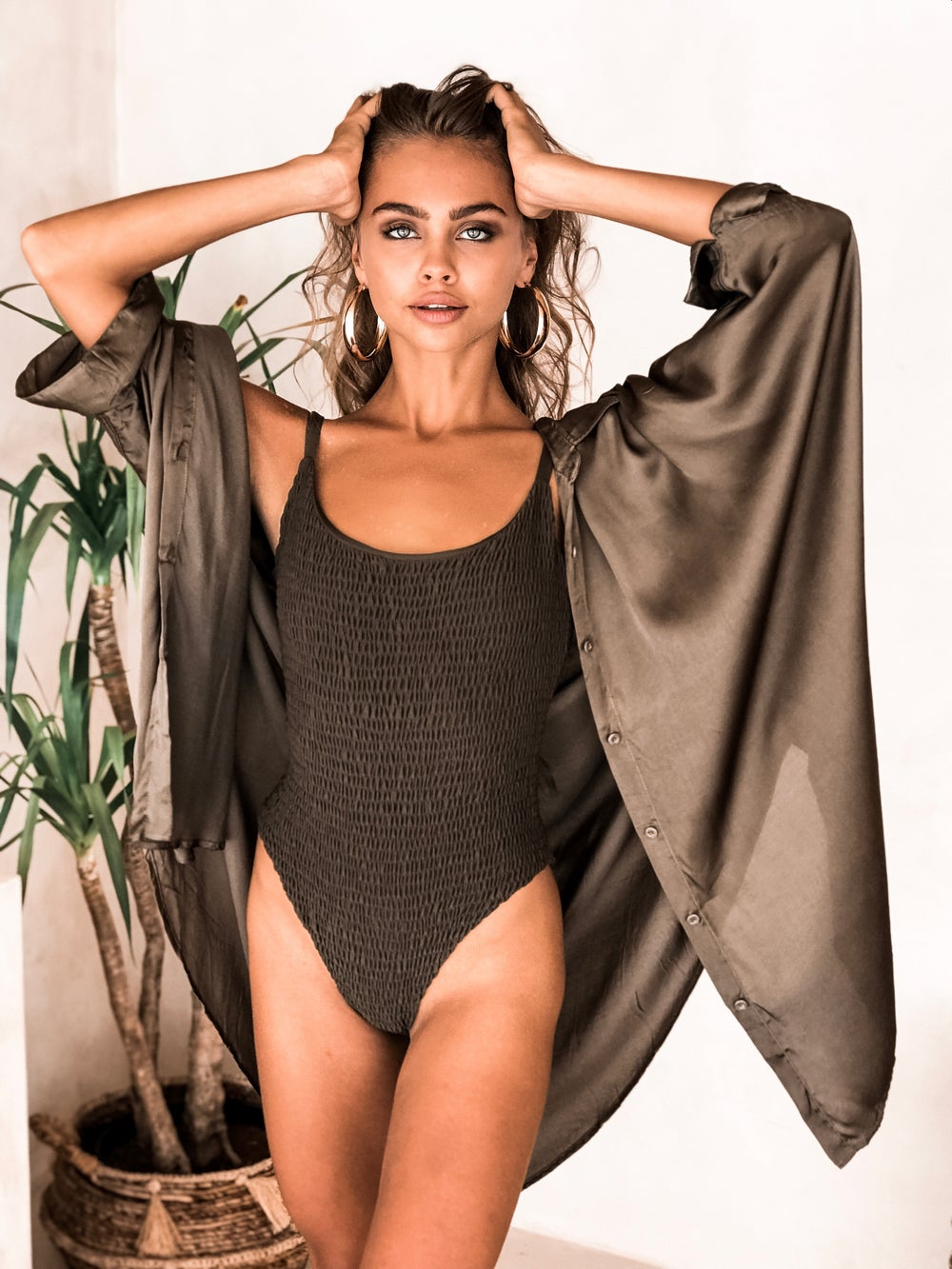 Image of TULUM TOP - OLIVE SILK