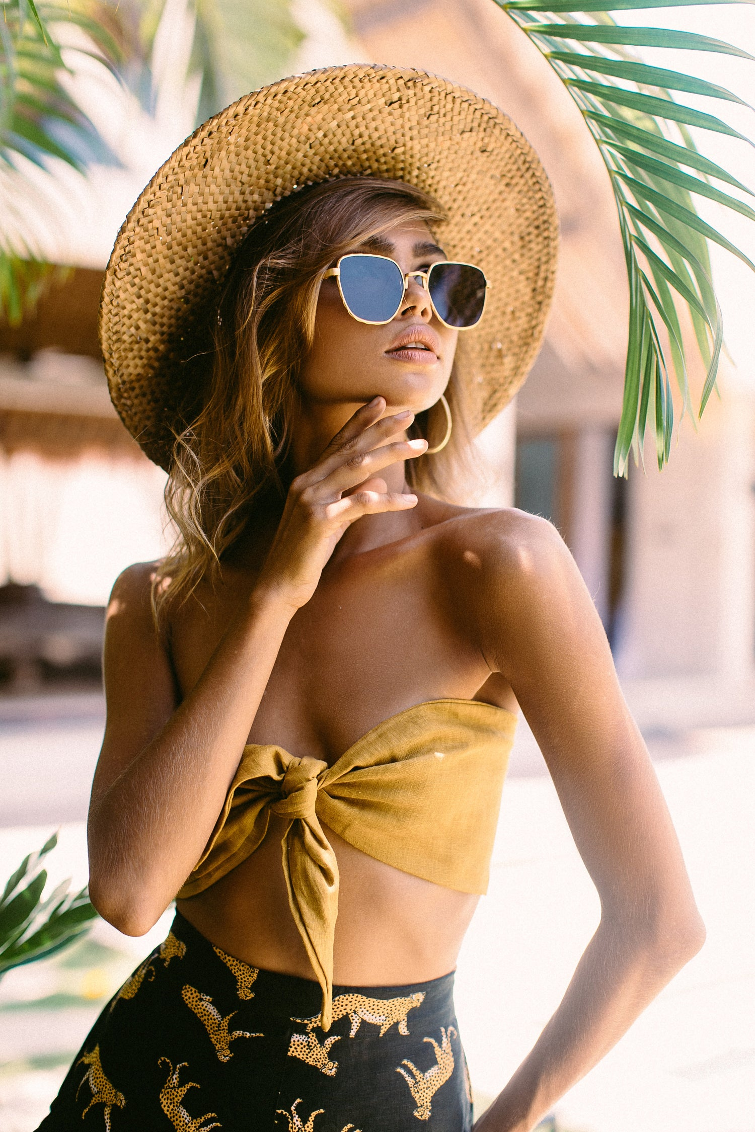 Image of JORJA TIE TOP BANDEAU - GOLD