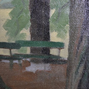 Image of Mid-century Painting, 'Paris Park.'