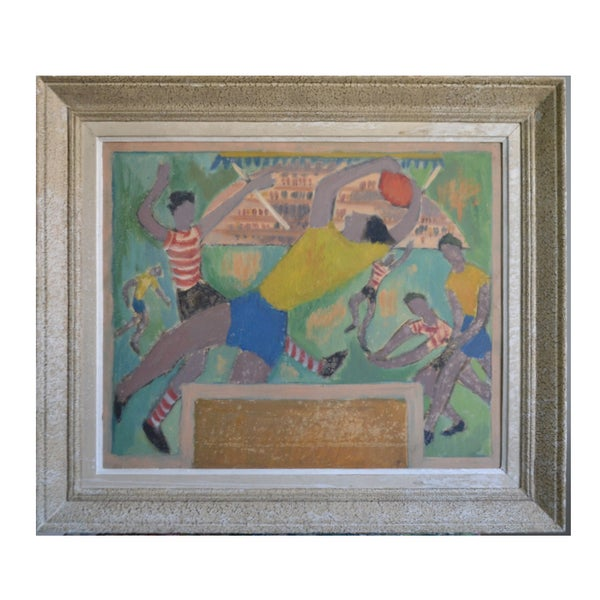 Image of Mid-century, Painting, 'Football Game.' JOSYN GALLET (1928-2016)