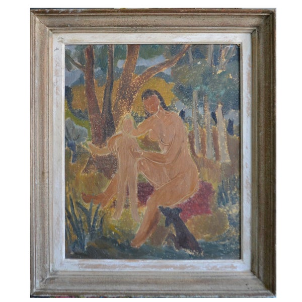 Image of 1950's French Painting 'Bathers' JOSYN GALLET (1928-2016)