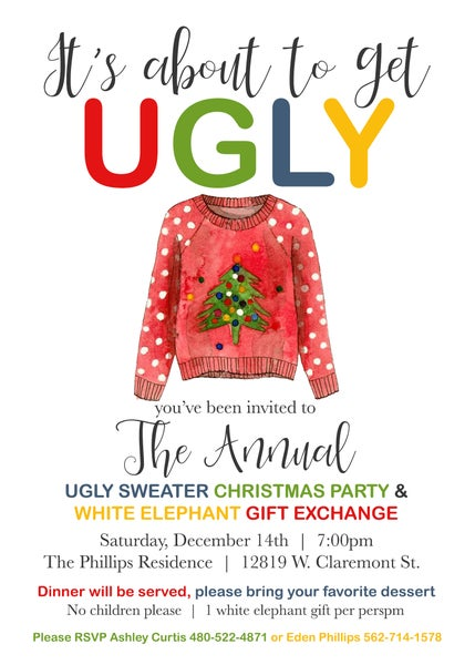 Image of Ugly Sweater Holiday Invitation