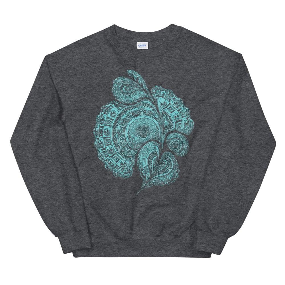 Image of Blue liquid mandala print on dark heather