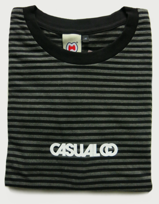 Image of 'CASUALCO' STRIPED TEE [BLACK/GREY]
