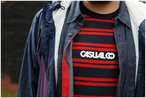 Image of 'CASUALCO' STRIPED TEE [NAVY/RED]