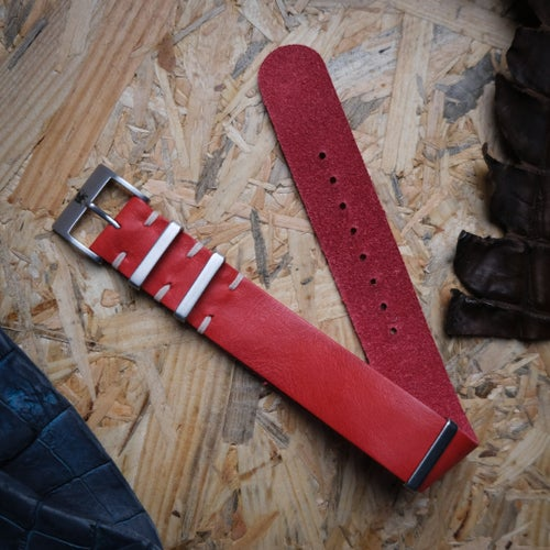 Image of Nomad Red Rugged Leather NATO