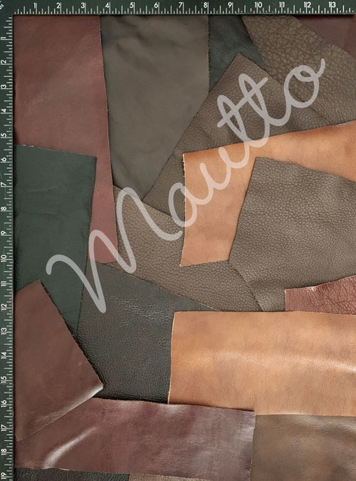 Image of Brown Leather Pieces - 1 Pound Bag of Scraps & Remnants - for Crafts, Art, DIY Projects, Jewelry