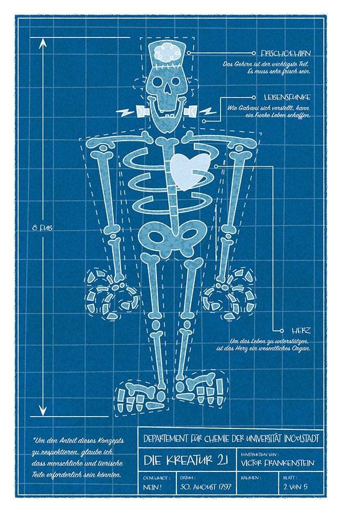 Image of Un rare plan de la Créature | A rare blueprint of the Creature
