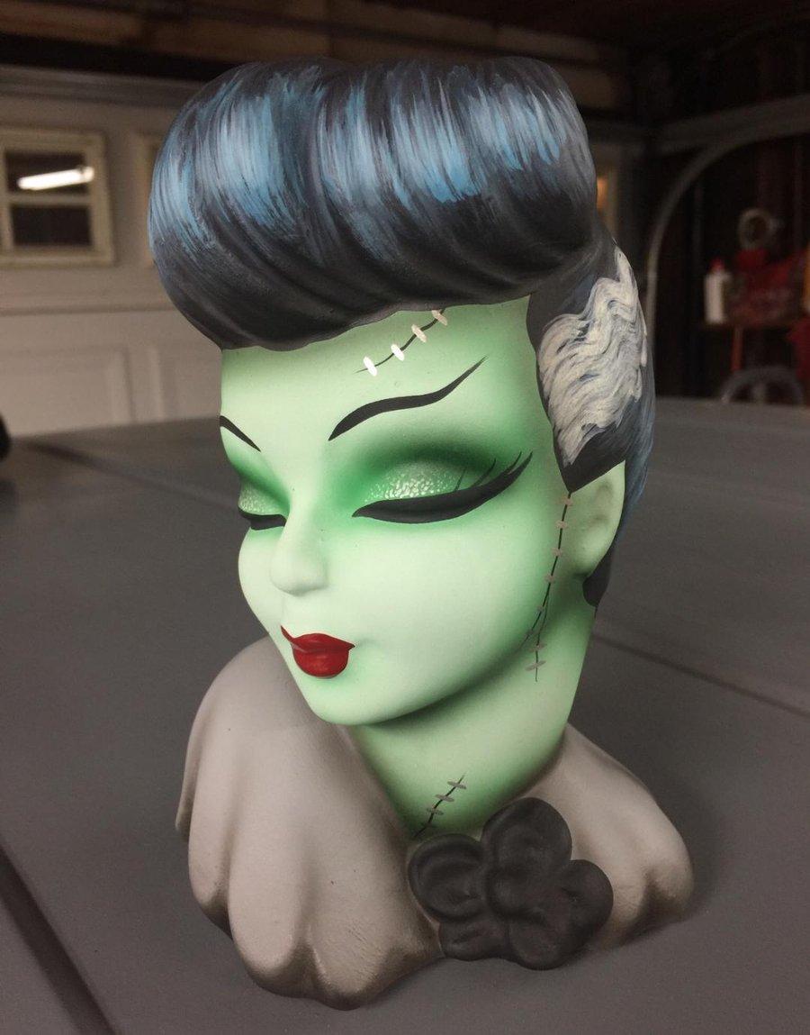 Image of PRE ORDER Vintage Revamped Bride of Frankenstein Head Vase