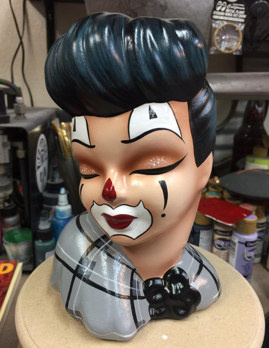 Image of PRE ORDER Vintage Revamped Up Do Clown Girl Head Vase
