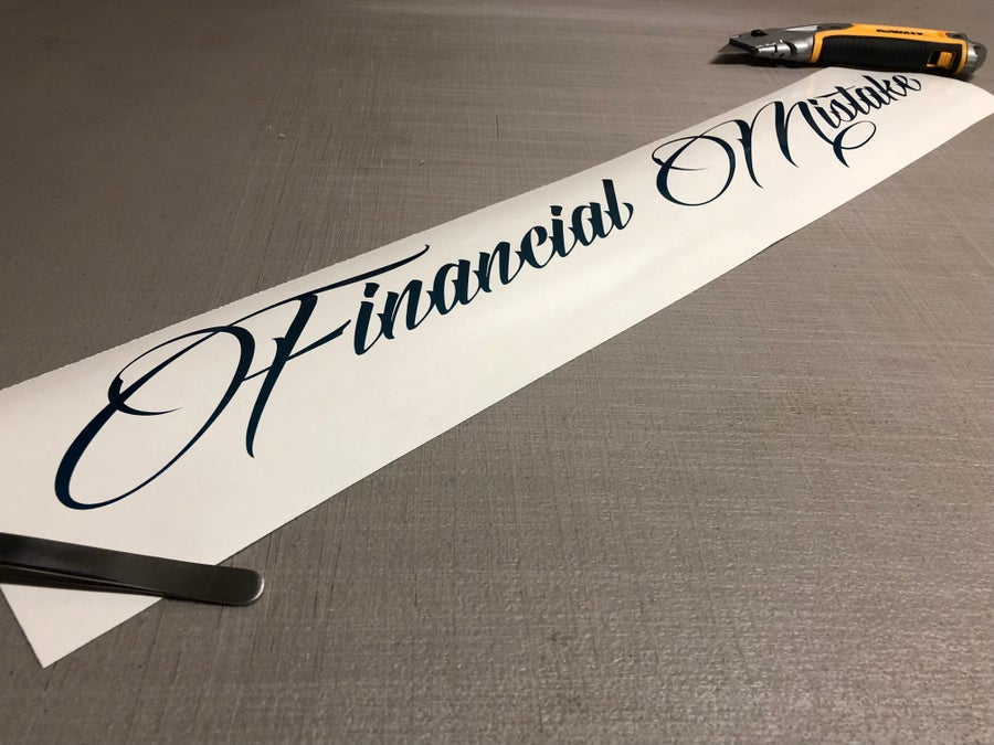 "Image of 24"" financial mistake decal"