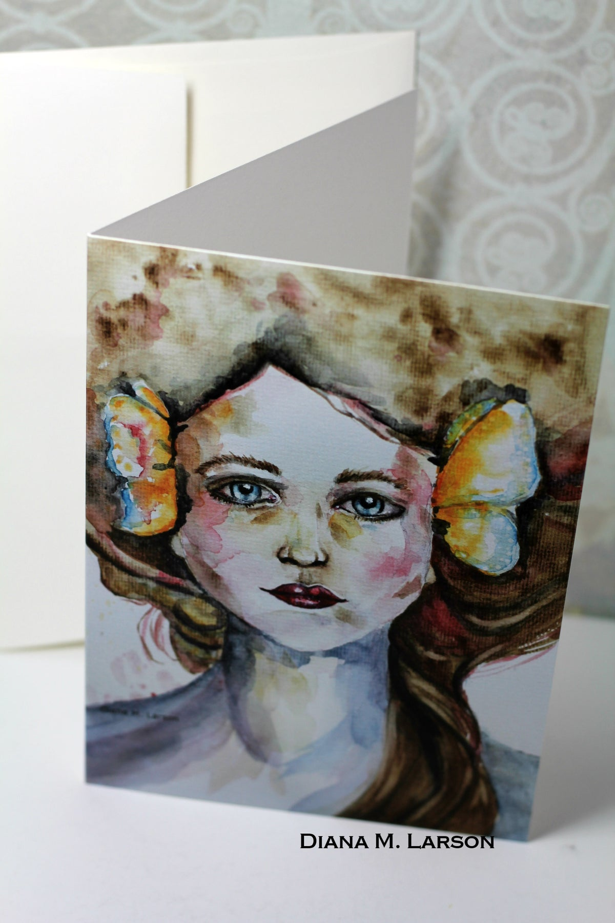Image of Lady with butterflies,  art cards and prints